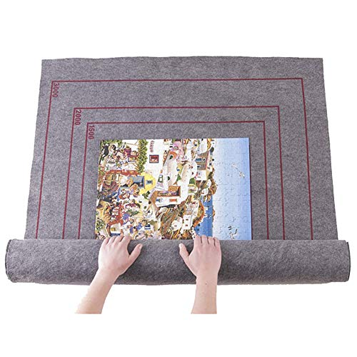 HZW 3000 Piece Puzzle Mat Roll up Jigsaw Puzzle Pad Puzzle Board Puzzles Saver Puzzle Storage Felt Mat Best Gift for Puzzle Lovers and Adult Children, 38.6X53.5 inches