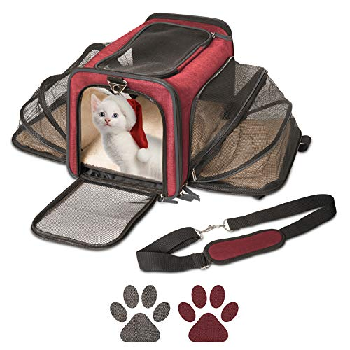 Cat Carrier and Small Dog Carrier by Pet Peppy- Expandable Sides Creates Twice The Space for Pets - Perfect Cat Travel Bag | Dog Travel Bag - Airline Approved Pet Carrier!