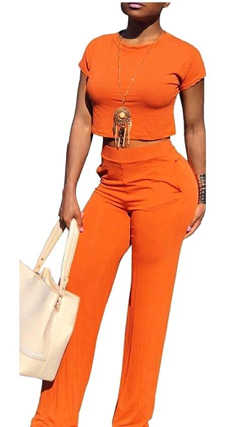 アグネスグレイいらいらさせるメニュー女性oネック半袖作物は、高ワイリスパンツは、2ピース衣装をジャンパートップ