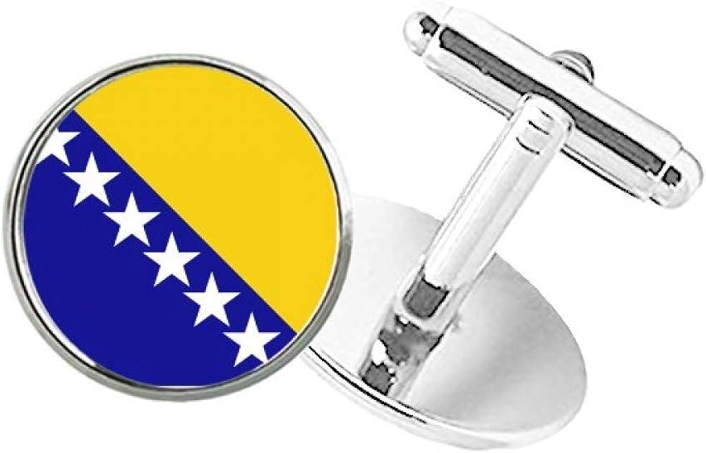 DIYthinker Bosnia Be Bombing new work super welcome and Herzegovina National Bu Flag Round Country