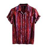 JiaMeng_ZI Ropa de Moda, Hawaiana Botones Camisa Casual Suelto Manga Corta Shirt Blouse Rayas Impresas Colorful Verano Cárdigan Transpirable Tejido Compuesto Tops