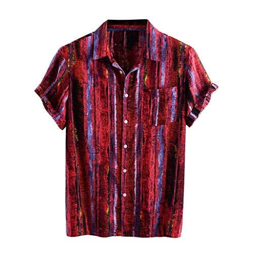 Yowablo Hemden Männer gestreifte Bedruckte Umdrehkragen Kurzarm lässig (XXL,9Rot)