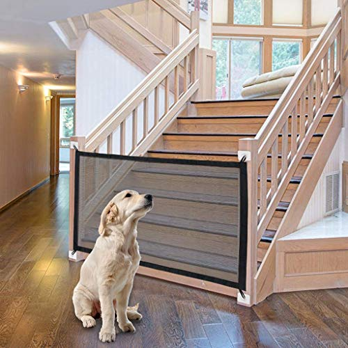 Yeavail Magic Gate for Dogs, Portable Folding Pet Safety Gate, Safety Fence Safe Guard Isolation Net from Kitchen/Upstairs/Indoor