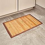 iDesign Alfombra antideslizante, alfombra de madera de bambú de tamaño pequeño, alfombrilla de baño, cocina y pasillo repelente al agua, marrón claro