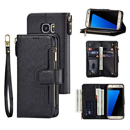 QLTYPRI Hülle für Samsung Galaxy S7, Premium Leder Handyhülle mit Große Kapazität Kartenfach Ständer Multifunktionale Ledertasche Kompatibel mit Samsung Galaxy S7 - Schwarz