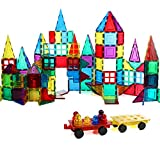 Magnetic Stick N Stack 160 Piece MEGA Magnetic Tiles 3D Construction Building Blocks Award Winning Educational Classic Set with Car Bases, Windows, and Figures
