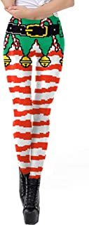 GLIENST Womens Sexy Christmas Digital Printed Leggings Funny Xmas Stretch Tights
