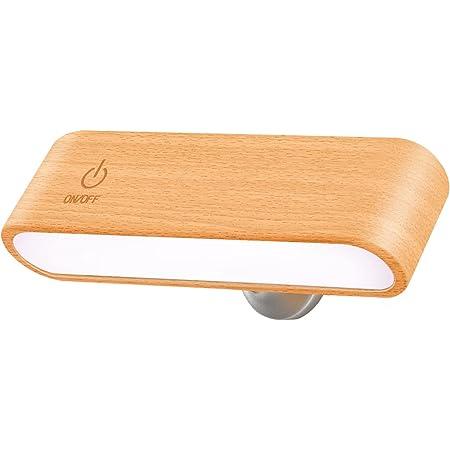 Yilaie 壁ライト led マグネット固定読書灯 usb電池式 デスクライト 目に優しい ベッドサイドランプ 360°角度調整 壁掛け照明 輝度調整 木目調 間接照明 取り外し可能な携帯ライト