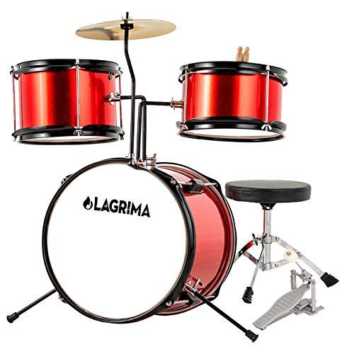 LAGRIMA 3 Piece Kids Drum Set with Adjustable Throne, Cymbal, Pedal & Drumsticks, Metallic Red
