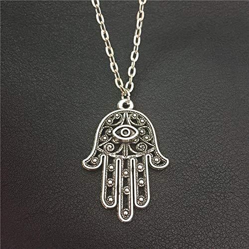 LASISZ MALATA Buena Suerte Protección SímboloTurcoFátima Mano Mal de Ojo Colgante Largo 70cm Collar de Cadena de Metal Mujeres Hombres Amuleto de la Suerte