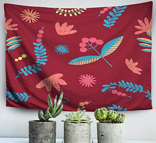 N\A Easter Home Art Decor Wall Hanging Tapestry Folklore Herbal Background Flowers Pattern Polish Folklore Herbal Ethnic Ornament withfor Living Room Dorm Background Tapestries
