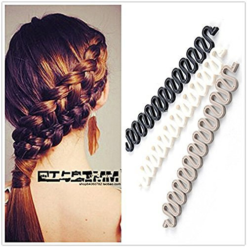 3Pcs (Black,Grey,White) Women Hair Styling Clip DIY French Hair Braiding Tool Roller Bun Maker Hairstyle Braid Tool Twist Plait Hair Braiding Tool Hair Accessories