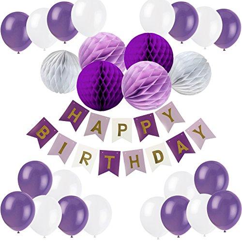 Recosis Geburtstag Dekoration, Happy Birthday Girlande mit Luftballons Latexballons und Wabenbälle Papier für Geburtstag Dekoration - Violett
