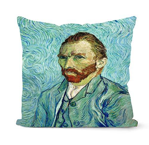 PPMP Van Gogh Pintura al óleo Funda de cojín sofá decoración del hogar Funda de Almohada Girasol autorretrato Cielo Estrellado Funda de Almohada Funda de cojín A1 45x45cm 1pc