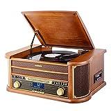 MUSITREND Tocadiscos (33 / 45 / 78 RPM) estéreo de 3 velocidades con Altavoces incorporados, Marrón Sistema de Audio para el hogar (BT, Dab/FM Radio, Analógico, MP3, WMA, CD de Audio)