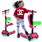 Hurtle 3-Wheeled Scooter for Kids - Wheel LED Lights, Adjustable Lean-to-Steer Handlebar, and Foldable Seat - Sit or Stand Ride with Brake for Boys and Girls Ages 1-14 Years Old - Pink