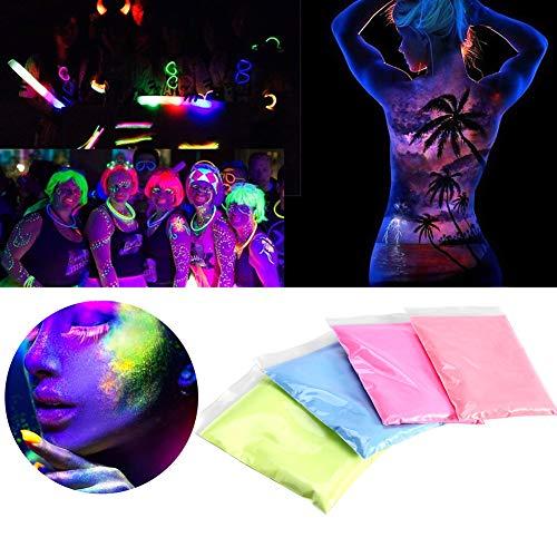 Fluoreszierendes pulver, 4 farben helle fluoreszierende farbe pulver DIY pigment nagellack beschichtung nachtleuchtende pulver(4 Farben)