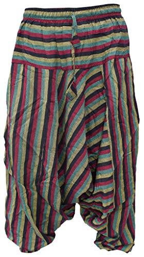 Gheri Pantaloni da uomo in cotone a righe leggeri, estivi Rasta a righe Large