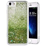 Compatible con iPhone 7 Funda Brillo Brillante, 3D Sparkly Liquida Glitter TPU Fundas Protectora Transparente Antigolpes Suave Silicona Purpurina Case Carcasa Compatible con Apple iPhone 8, Verde