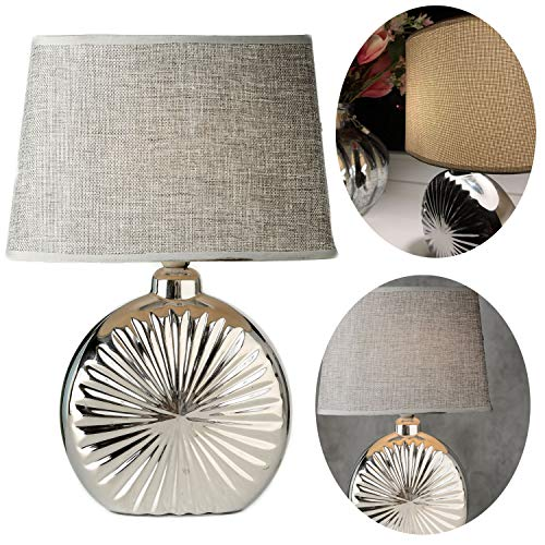 LS-LebenStil Tischlampe Keramik Sylt Muschel 34cm Tischleuchte Nachttisch-Lampe