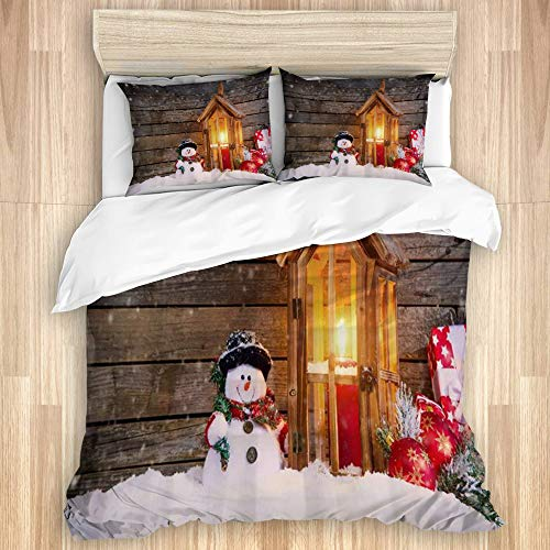 Aliciga Bedding Sheet-Duvet Cover Set,Cute Snowman Snow Rustic Wood Cabin Background Ball Ornaments Country Farmhouse Christmas Themed,Microfibre 200x200 with 2 Pillowcases 80x50,Double