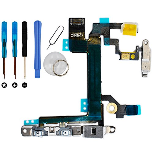 XMITEC Powerflex für iPhone 5S - Power Button EIN Aus Schalter Volume Mute Lautlos Flexkabel (VORMONTIERT) + Werkzeug Set