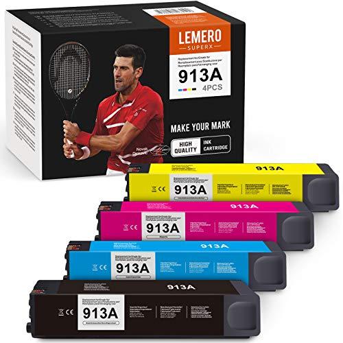 LEMERO SUPERX 913A Cartucho de tinta reciclado compatible con HP 913 913A para HP PageWide Pro 352dw 352dn 452dw 452dn MFP 377dw 377dn 477dw 477dn 552dw 557dw 577z Managed P55250dw P57750dw