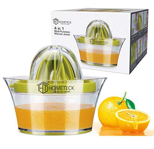 HomeTeck Exprimidor Manual de Limón 4 en 1, Exprimidor de Naranjas, Limas; Plástico, Sin BPA, Vaso Medidor Integrado y Rallador De Huevos Antideslizante, Apto Para Lavavajillas.