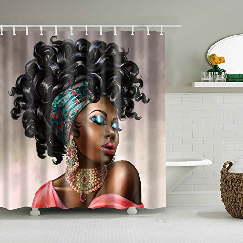 gwregdfbcv Black hair yellow with skin beauty shower curtainBathroom accessories 180X180CM waterproof and mildew shower curtain