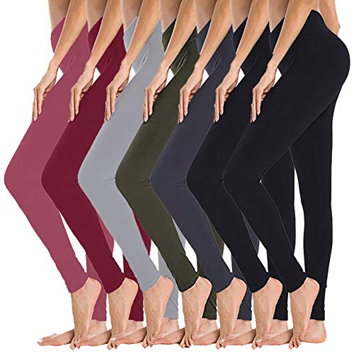 Gayhay High Waisted Leggings for Women - 7 Pack Soft Slim Tummy Control Pants for Yoga Workout Cycling Running