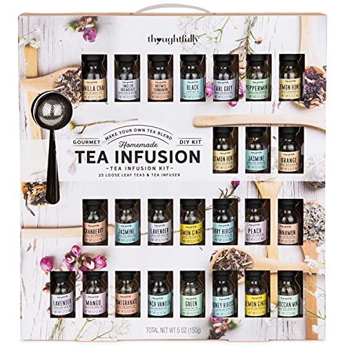 Modern Gourmet Foods - Tea Blend Set - Probierset mit 24 leckeren Tee-Mischungen - in verschiedenen Geschmacksrichtungen - Inkl. Teesieb
