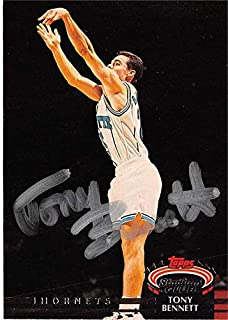 Tony Bennett autographed basketball card (Charlotte Hornets) 1993 Topps Stadium Club #238 - Basketball Autographed Cards