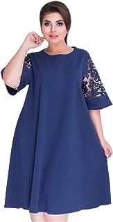 Women Plus Size Cowl Neck Button Lace Sleeve Tunic Tops T Shirt Blouse Dress