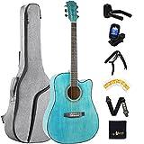 Winzz Tamaño 4/4 Guitarra Folk Kit de Principiantes para Adultos, 41 Pulgadas Guitarra Acústica Azul