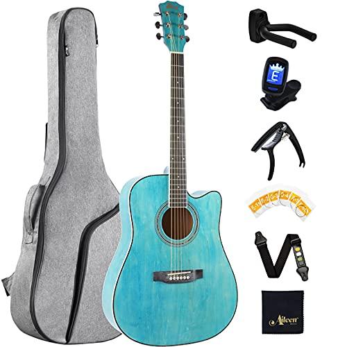 Winzz Tamaño 4 4 Guitarra Folk Kit de Principiantes para Adultos, 41 Pulgadas Guitarra Acústica Azul