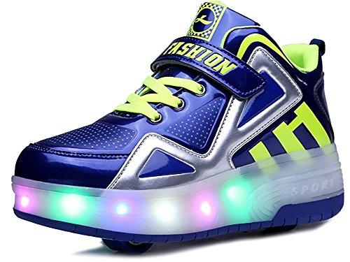 FG21ds21g Kids Wheelies LED Light Up Shoes Lightweight Fashion Sneakers Double Wheels Roller Skate Shoes(Blue 37 M EU/4.5 M US Big Kid)