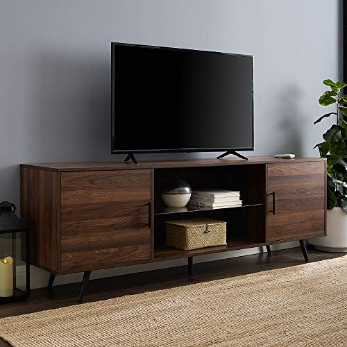 "Walker Edison Furniture Company Mid Century Modern Wood Universal Stand for TV's up to 80"" Flat Screen Cabinet Doors and Shelves Living Room Storage Entertainment Center, 70 Inch, Dark Walnut"