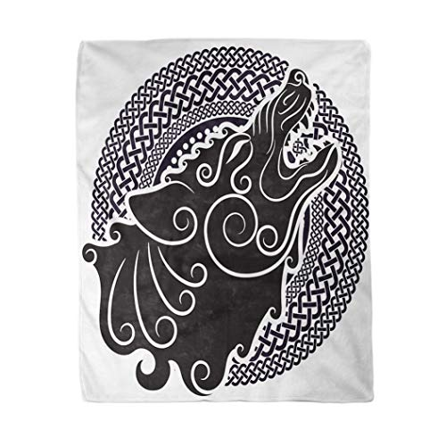 Adowyee 60x80 Inch Soft Decor Throw Blanket Wolf on Celtic Style Howling in Ornament White Norse Viking Ancient Antique Armor Warm Cozy Flannel Bed Blankets for Home Sofa Couch Chair Living Bedroom