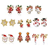 FANDE Pendientes de Navidad, 8PCS de Pendientes de Decoración Navideña para Mujer, Niñas, Accesorios de Maquillaje,...