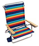 Rio Gear Beach Classic 5 Position Lay Flat Folding Beach Chair - Surf Power Blue/Multi Stripe, 8.5'