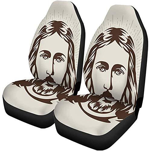 Enoqunt autostoelhoezen, Christusgezicht, Jezus, katholisch kruis, bed, bijbelset met 2 beschermers, universele pasvorm voor auto-UV