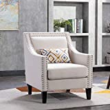 Henf Accent Chair Upholstered Living Room Chair with Nailhead Trim, Linen Fabric Armchair Side Chair with Padded Seat Solid Wood Legs, Beige