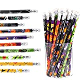 50 Pieces Halloween Pencils 7.5 x 0.3 inch Wood Pencils Assorted Patterns Pencils for Halloween Party Supplies, 10 Styles