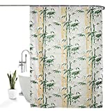 HOMECROWN Bamboo Leaf Design Printed Waterproof Shower Curtain for Bathroom, 7 Feet PVC Curtain with...