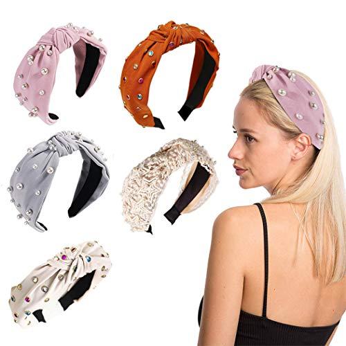 Bohend Fashion Pearl Headbands Blue Rhinestone Hair Band Elastic Garland Hair Hoop Pleuche Hearwear Head band for Women and Grils(5 Pack)