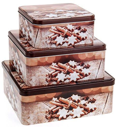 """Gebäckdose Plätzchendose Vorratsdose Blechdose Keksdose Büchse Dose für Keks Plätzchen Weihnachten\""""Zimtstern\"""" Set 3tlg. quadratisch"""
