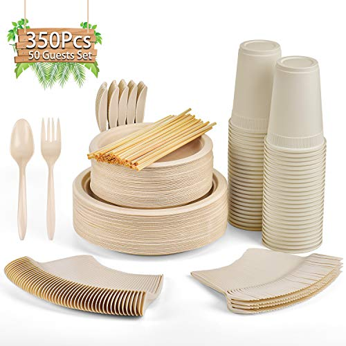 Gezond 350 Pcs Disposable Dinnerware Set, Eco-friendly Dinnerware Includes Compostable Biodegradable Plates, Forks, Knives, Spoons, Cups and Straws for 50 Guests