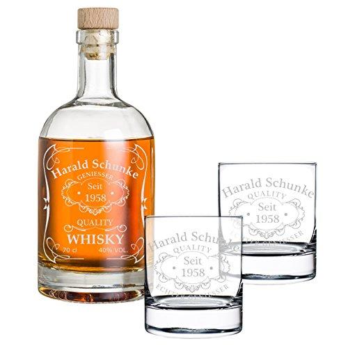 polar-effekt 3-TLG Geschenk-Set Personalisiert mit Gravur - Whiskyflasche und 2 Whiskygläser - Glas-Karaffe Inhalt: 700ml - Geschenkidee für Männer - Motiv Quality Whisky