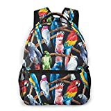 Watercolor Parrot Cockatoos Macaws Print Custom Unique Casual Backpack School Bag Travel Daypack Gift