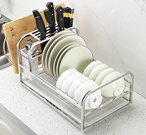 Justmysport Escurreplatos de acero inoxidable, escurreplatos con bandeja de goteo y soporte para cuchillos, dos colores